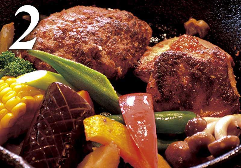 選べるメイン料理|ハンバーグ&チキン