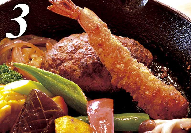 選べるメイン料理|ハンバーグ&エビフライ